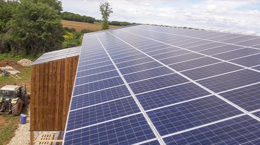toiture d'un séchoir en grange avec des panneaux solaires