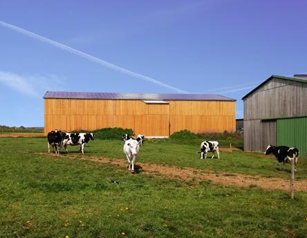 une grange avec des panneaux solaires pour séchage de fourrage