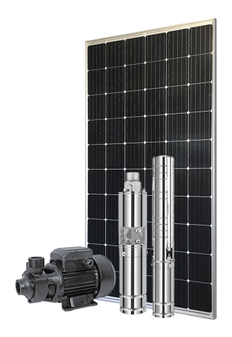 panneau solaire avec pompes solaires : pompe immergée et de surface